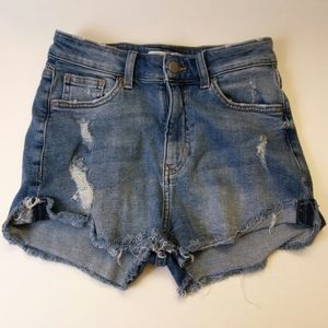 H&M Distressed Hi-rise Denim Shorts, 2